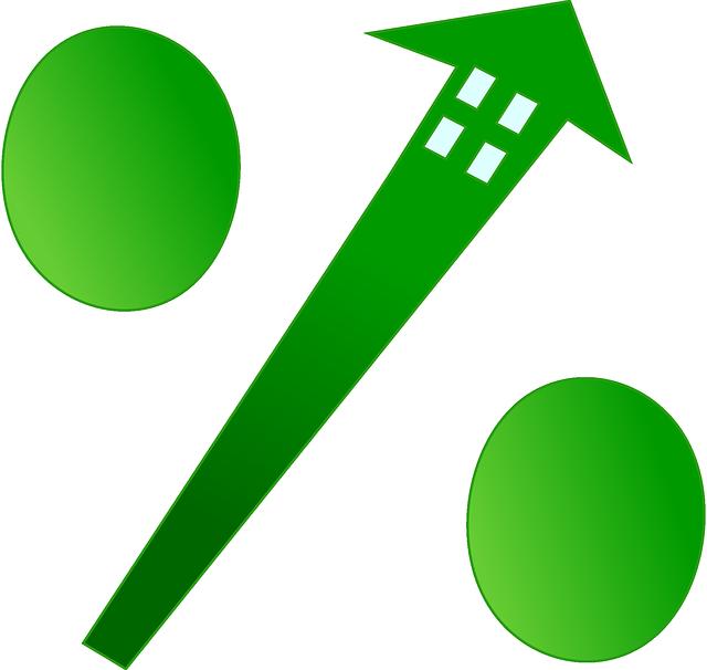 Zeleně vykreslená procenta, kdy nahoře je domeček
